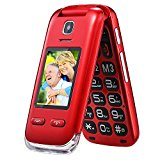Obooy EG520 Unlocked GSM Clamshell Mobile Phone, SOS Button,Dual Screen with Large Keypad and Predictive Text , Radio/Camera/Torch/Charging Dock, Hearing Aid Compatible, Senior Citizen-Friendly, Red